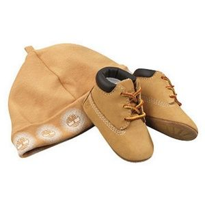 Timberland Infant Crib Booties and Hat Set